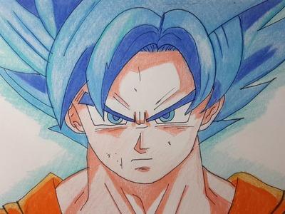 Como dibujar a Goku dios AZUL paso a paso [El Dibujante]