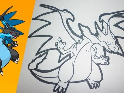 Como dibujar a MEGA CHARIZARD X paso a paso | how to draw MEGA CHARIZARD X step by step