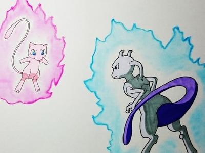 Como dibujar a Mew VS Mewtwo paso a paso - How to draw Mew VS Mewtwo
