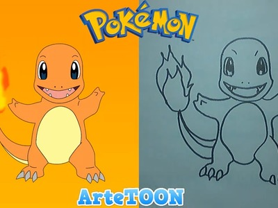 Como dibujar a  paso a paso a Charmander - Pokemon | How to draw Charmander