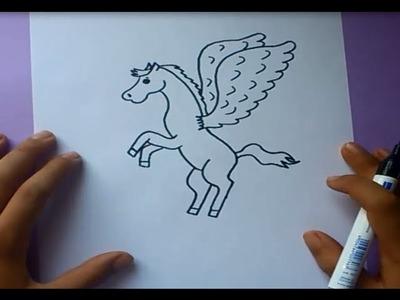 Como dibujar a Pegaso paso a paso | How to draw Pegaso