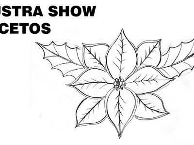 Cómo dibujar FLORES de NOCHEBUENA NAVIDEÑAS Tutorial ILUSTRA SHOW