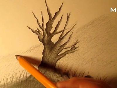 Cómo dibujar un árbol a lápiz paso a paso, cómo dibujar un árbol realista fácil a lápiz