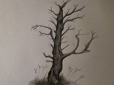 Cómo dibujar un árbol seco y sin hojas, árbol a lápiz HD
