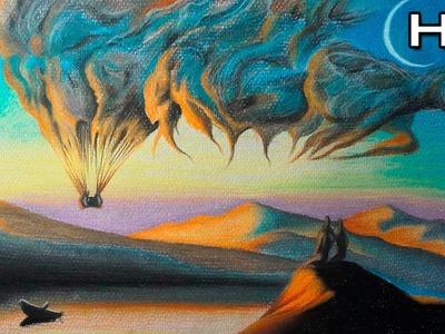 Cómo Dibujar un Atardecer con Lápices Pastel Paso a Paso - Paisaje Surrealista