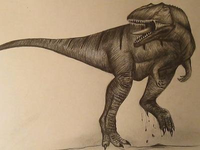 Cómo dibujar un dinosaurio realista a lápiz paso a paso, dibujos de dinosaurios