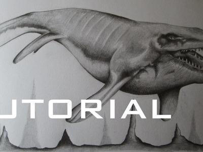 Cómo dibujar un Mosasaurus a lápiz paso a paso, cómo dibujar un reptil marino