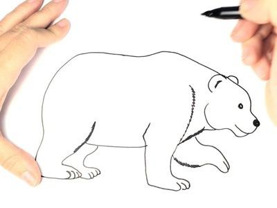 Como dibujar un oso polar para niños paso a paso
