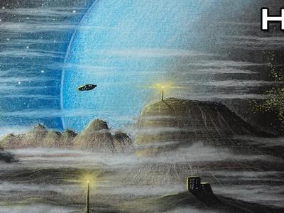 Cómo Dibujar un Paisaje Planetario con Lápices Pastel Paso a Paso