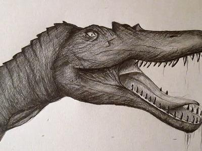 Cómo dibujar un Spinosaurus, dibujando dinosaurios paso a paso a lápiz