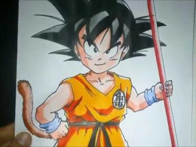 Dibujando a Goku, Como dibujar a Goku, How to draw Goku, Drawing Goku,