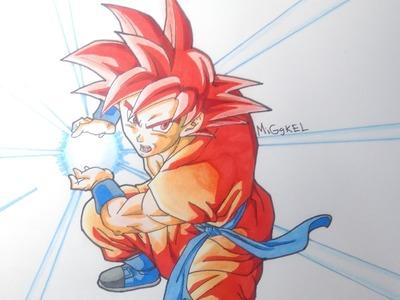 Dibujando a Goku Super saiyan god kame hame ha. Drawing Goku Super saiyan god kame hame ha
