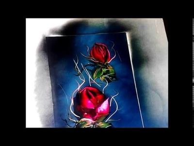 EXCELENTE TÉCNICAS, dibujando rosas con   Spray.