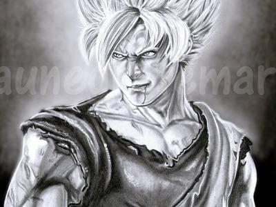 Retrato A LAPIZ de GOKU REALISTA (*paunegretemarin*Retrato a lápiz*) DRAGON BALL Z