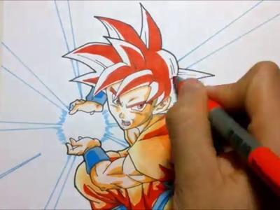 TUTORIAL Como dibujar a Goku Super saiyajin dios Rojo. How to draw Goku Ssj god (red hair)