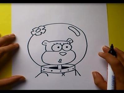 Como dibujar a Arenita paso a paso - Bob esponja   How to draw Arenita - Sponge bob