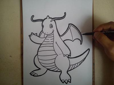 COMO DIBUJAR A DRAGONITE - POKEMON GO. how to draw dargonite - pokemon go