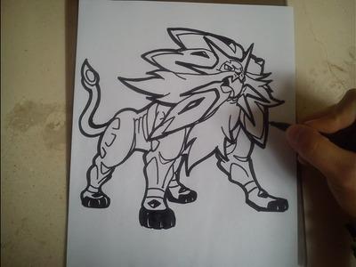 COMO DIBUJAR A SOLGALEO - POKEMON. how to draw solgaleo - pokemon