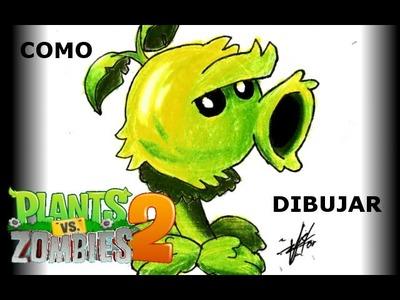 Cómo dibujar al lanzaguisantes primitivo (Plantas vs Zombies 2) |Víctor González
