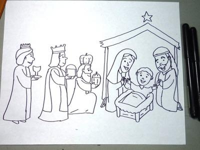 Cómo dibujar al pesebre paso a paso: Niño Dios, María José y los 3 reyes magos