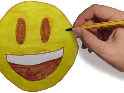 COMO DIBUJAR EMOJIS: Emoji sonriente fácil paso a paso