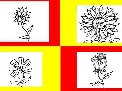 Como dibujar flores faciles paso a paso (6 tipos) █ como dibujar una flor facil para niños