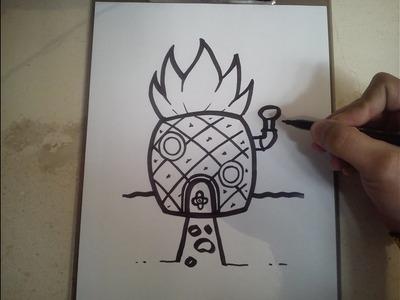 COMO DIBUJAR LA CASA DE BOB ESPONJA, PASO APASO.how to draw Spongebob's house, Step by Step