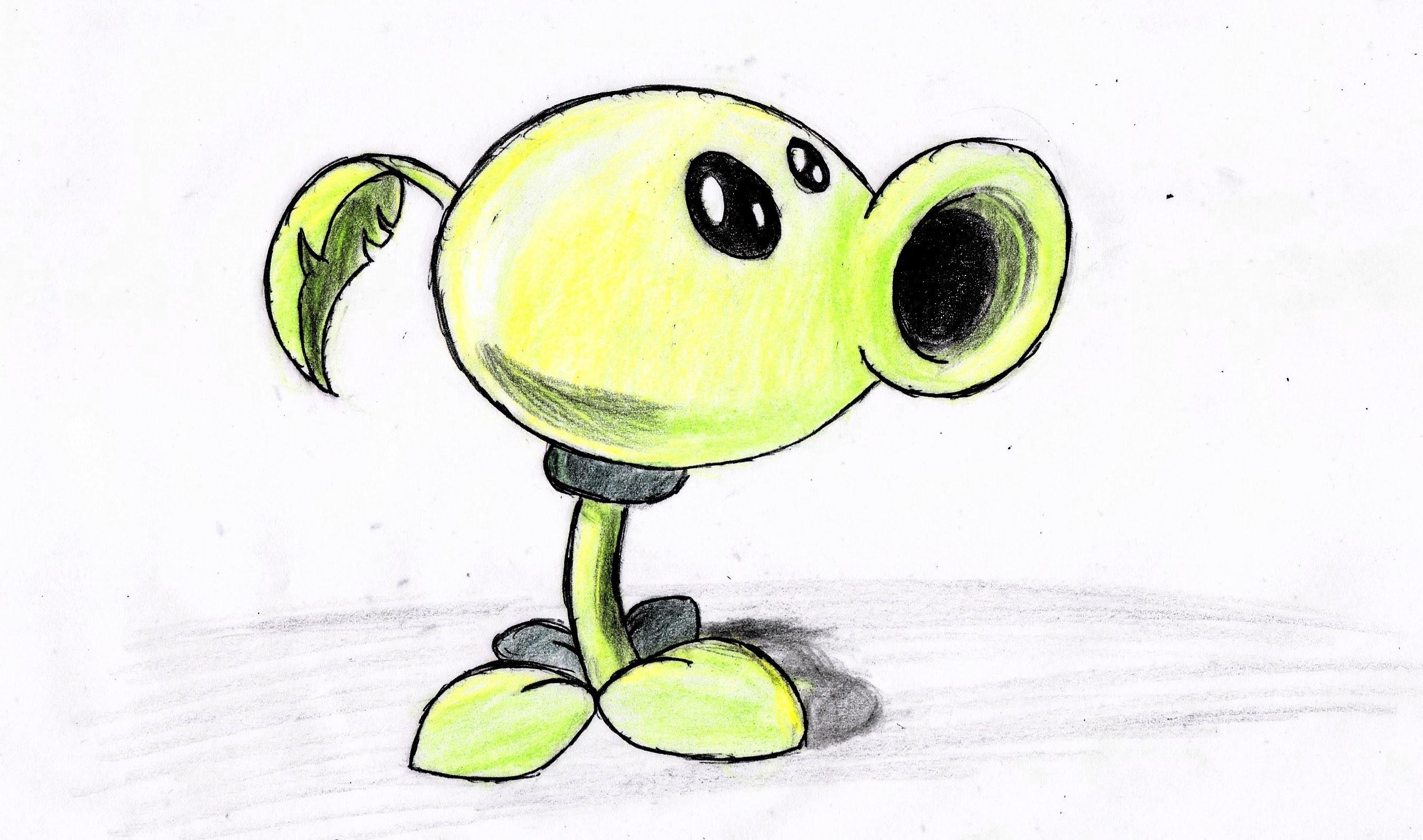 Como dibujar planta lanza guisantes paso a paso (plants vs zombies 2) | how to draw