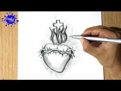 Como Dibujar un corazon - How to draw a heart -  Dibujando el corazon de jesus