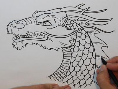 Cómo dibujar un dragón chino (cabeza) - How to draw Chinese dragon (head)