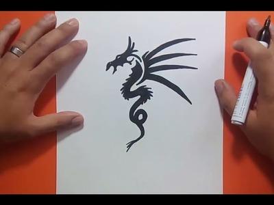 Como dibujar un dragon tribal paso a paso 6 | How to draw a tribal dragon 6