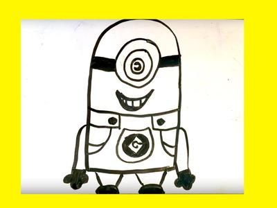 Cómo dibujar un minion facil █ paso a paso. como se dibuja un minion con un ojo