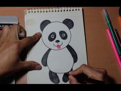 Como dibujar un oso panda para niños de preescolar y primaria
