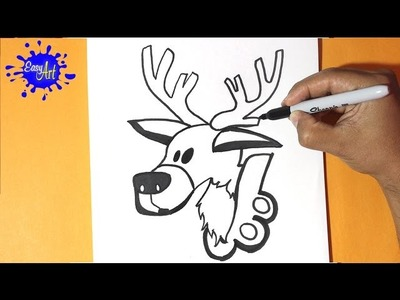 Como dibujar un reno navidad 3 - how to draw a reindeer christmas