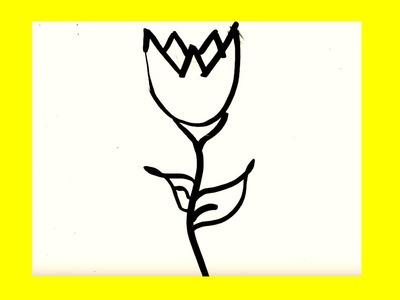 Cómo dibujar un tulipan paso a paso █ Cómo dibujar flores. dibuja flor. dibujo faciles