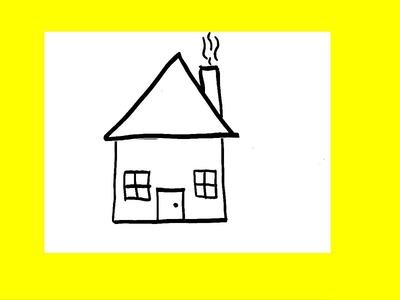 Cómo dibujar una casa para niños (fácil) █ paso a paso - video para dibujar