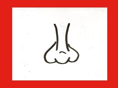Como dibujar una nariz fácil █ paso a paso dibujar una nariz de frente. dibuja una nariz