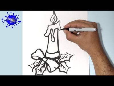 Como dibujar una vela navidad,how to draw  candle chrismas