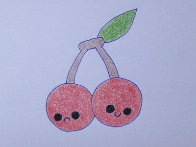 Como dibujar unas cerezas kawaii