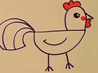 Cómo se dibuja un Gallo paso a paso para niños