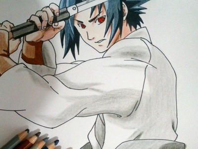 Dibujando a Sasuke. How to draw Sasuke. Speed Drawing Sasuke.