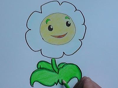 Dibujando paso a paso a Margarita (Plantas vs Zombies) - Step by step drawing Margarita