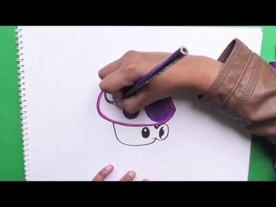 Dibujando y coloreando a Puff Shroom (Plantas vs Zombies) - Drawing and coloring Puff Shroom