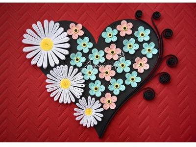 Tutorial Quilling - Corazón de Flores Filigrana de Papel