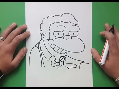 Como dibujar a Moe paso a paso - Los Simpsons | How to draw Moe - The Simpsons