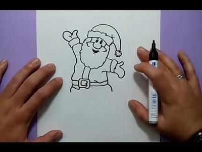 Como dibujar a papa noel paso a paso 7 | How to draw Santa Claus 7