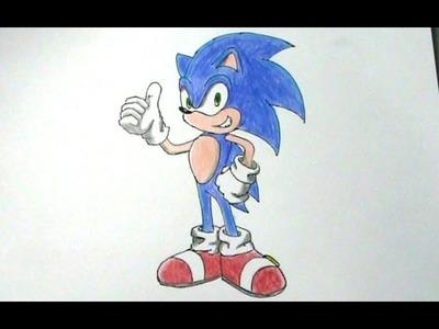 Cómo dibujar a Sonic El erizo Sega Games - paso a paso