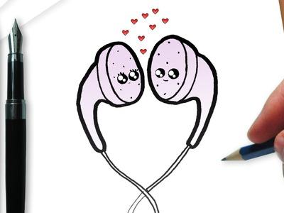 Cómo dibujar los auriculares kawaii