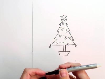 Como Dibujar un Arbol de Navidad muy fácil para colorear: tecnicas de dibujo para niños
