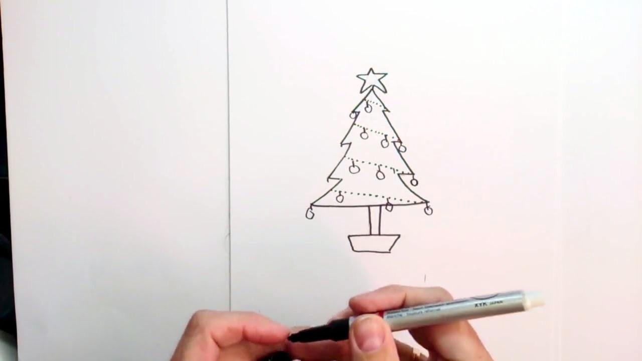 Como Dibujar Un Arbol De Navidad Muy Facil Para Colorear Tecnicas